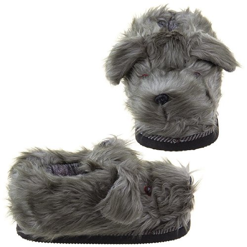 Image of Gray Fuzzy Dog Slippers for Women (B0096UBJGY)