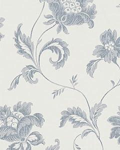 marburg tapete astoria vliestapete 53716 floral wei grau. Black Bedroom Furniture Sets. Home Design Ideas