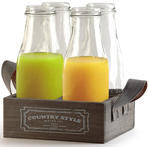 Circleware Country Antique, Glass Milk Drink Bottles with Wooden Tray, 15 Ounce, Set of 5, 4 Glass Bottles, 1 Wooden Tray, Limited Edition Glassware Drinkware