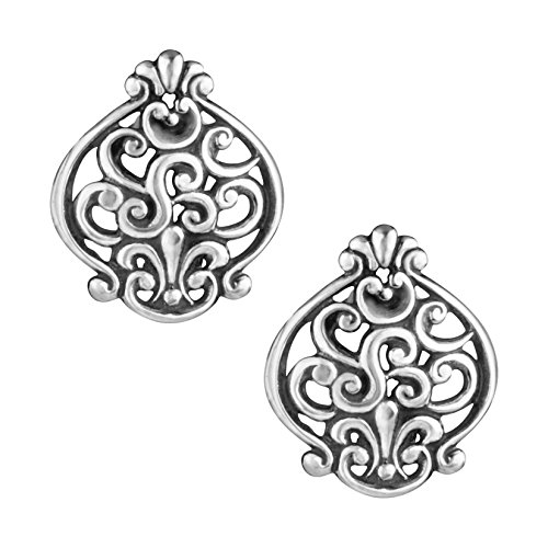Sterling Silver Filigree Button Earrings