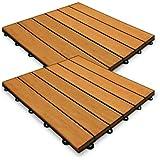 Dalles en bois eucalyptus 30x30cm lot de 11 unités système clipsable
