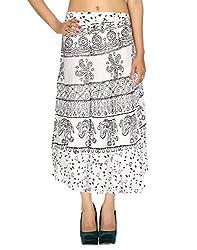 Rajrang Rayon Hand Block Printed Elephant White Casual Skirt