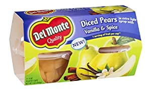 Del Monte, Diced Pears in Light Syrup with Vanilla & Spice Flavored Fruit Cups, 4 Count, 16oz Package (Pack of 6)