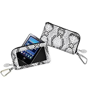 Charm 14 Touchscreen Wallet Everything Bag Wristlet for Smartphones - Retail Packaging - Silver Snakeskin