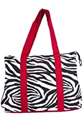 Ever Moda Zebra Print Extra Large Tote Bag with Coin Purse, Black and White with Red Trim