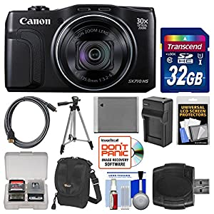 Canon PowerShot SX710 HS Wi-Fi Digital Camera with 32GB Card + Case + Battery & Charger + Tripod + Kit