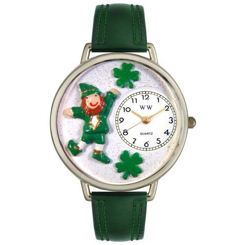 Whimsical Watches Unisex U1220023 St. Patrick's Day Leprechaun Hunter Green Leather Watch