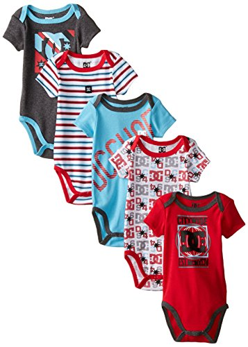 DC Shoes Co Baby-Boys Newborn 5 Pack Bodysuits- Red Blue Gray Group