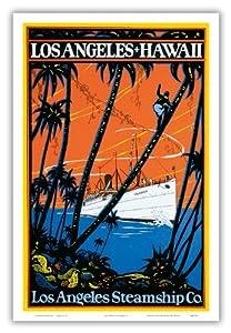 Los Angeles Hawaii - Los Angeles Steamship Company - SS Calawai Ocean Liner Arriving In Honolulu Hawai'i - Vintage World Travel Poster c.1920s - Hawaiian Master Art Print - 12 x 18in