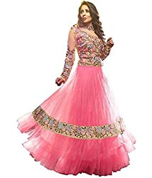 Decent World Pink Net Bridal Dress Material