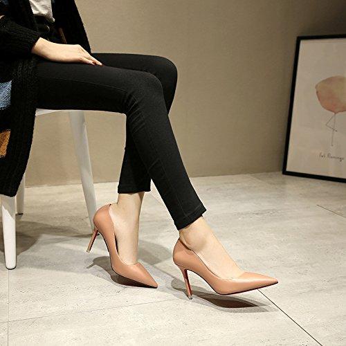 zz&Y Il senso del a tacco alto scarpe con punta fine porta luce singola calzatura,Nudo di polvere di metallo,36