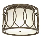 Iron Ceiling Fixture with Linen Shade (Pewter ) ~ Lightaccents
