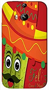 Timpax Protective Hard Back Case Cover Full access to all features. ports of the device including microphone, speaker, camera and all buttons. Printed Design : A cactus with a hat.Compatible with HTC-M8 ( M-Eight)
