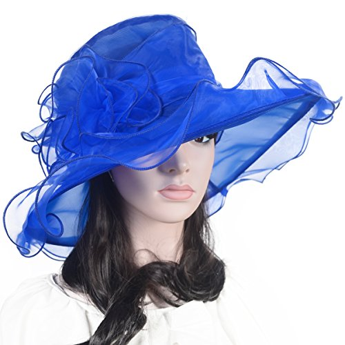 Lady Organza Kentucky Derby Blue Dress Hat Floral Wide Brim Hat