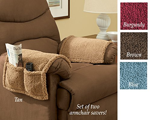 Armchair covers with pockets set of 2 brown furniture for Furniture covers with pockets