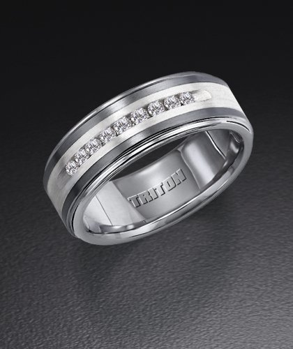 Triton Tungsten Carbide TC850 Wedding Ring with Sterling Silver Inlay and .25 ct in Diamonds 21-2218SC