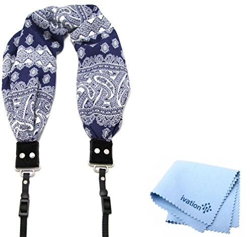 Capturing Couture Bandana Navy Scarf Super Comfortable Camera Strap and a Bonus Ivation Spot Cleaning Cloth