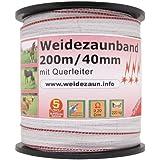 Weidezaun Band 200m, 40mm, 1x0,3 Kupfer + 9x0,2 Niro, weiß-rot 3*** Weidezaunband Weidezaunbreitband Pferdeband