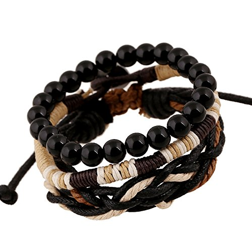 Nice Buckeye Simple Style Black Beads Studded Multi-strand Braided Leather Wrap Bracelet