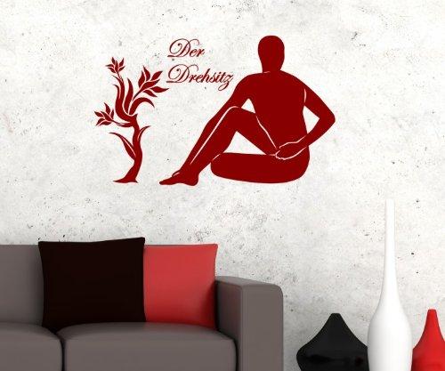 Wandtattoo Der Drehsitz Yoga Übung Sport Sticker Wandaufkleber Pose Figur 5G076, Farbe:Schwarz Matt;Breite vom Motiv:25cm