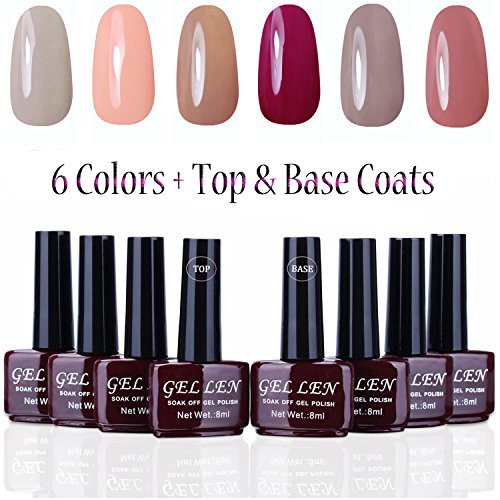Gellen UV Gel Nail Polish Kit 6 Colors + Base & Top Coats, Pastel Colors Manicure Starter Kit - (8ml Each, 8 Bottles) (Uv Gel Polish Kit compare prices)