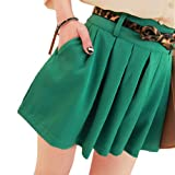 Allegra K Green Summer Casual Zipper Closure Side Pleated Skirt S for Women