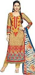 Beige and Blue Pakistani Style Embroidered Straight Suite (With Discount and Sale Offer)