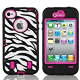 Armored Core Zebra Print Case White/Black with Hot Pink Shell for Iphone 4 4S 4G