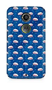 Amez designer printed 3d premium high quality back case cover for Motorola Moto X (2nd Generation) (Cloud texture blue art pattern)
