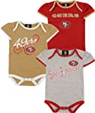 San Francisco 49Ers Infant Girls Team Color 3 Piece Foldover Ruffled Sleeve Creeper Set