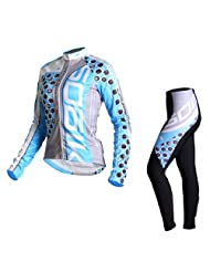 Lance Sobike Women's Cycling Jersey Set Long Sleeves for Winter and Autumn-Alice (Blue, Large)