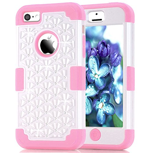 iPhone 5C Case, 3in1 Anti Slip IPhone 5C Case Hybrid with Soft Flexible Inner Silicone Skin Protective Case Cover for Apple iPhone 5C(White+Pink) (Protective Pink Iphone 5c Case compare prices)