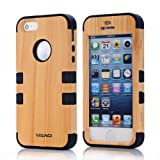Meaci Apple Iphone 5 5s Case Hard Soft Wood-plastic Composite&silicone Combo Hybrid Defender Bumper (black)