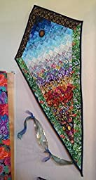 Summer Garden Kite Art Quilt With Sun, Moon and Flowers