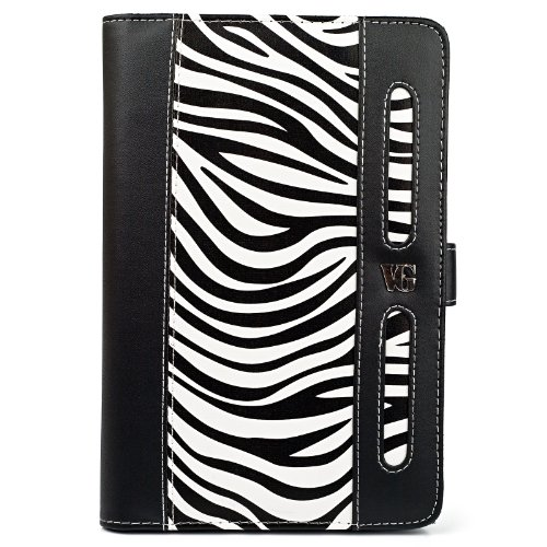 "Black And White Zebra Vangoddy Dauphine Portfolio Jacket Cover Case For Amazon Kindle Fire Hd 7"" Lcd Display Wi-Fi 8Gb Tablet, Latest Generation"