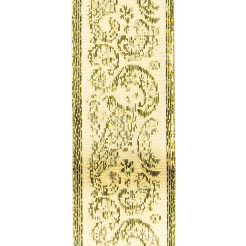 Offray Golden Paisley Craft Ribbon, 1-1/2-Inch Wide by 10-Yard Spool, Ivory with Metallic Gold