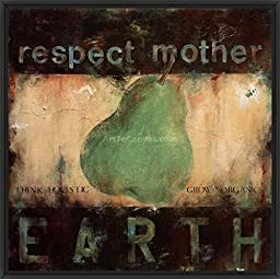 29in x 29in Respect Mother Earth by Wani Pasion - Black Floater Framed Canvas w/ BRUSHSTROKES