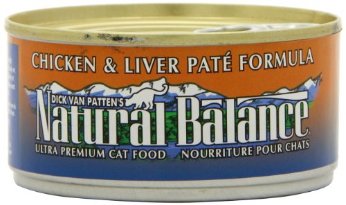 Natural Balance Canned Cat Food, Chicken and Liver Pate Recipe, 24 x 6 Ounce Pack