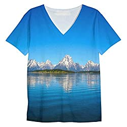 Snoogg Blue Water And White Mountain Mens Casual V Neck All Over Printed T Shirts Tees