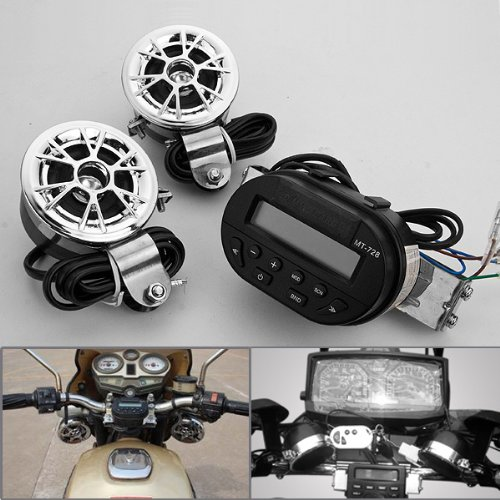 1 Set Waterproof Glow Light Lcd Display Sd Mmc Card Player Fm Radio Unit System + 2 Loudspeakers Universal Fit Motorcycle Handle Bar