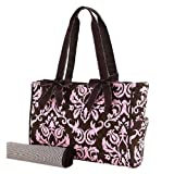 Belvah Quilted Damask Diaper Bag (Brown/ Pink)
