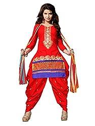NK New Orange Semi Stitch Salwar Suit With Dupatta