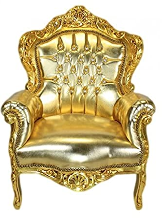 Casa Padrino Baroque Armchair 'King' gold / gold leather look with bling bling diamante