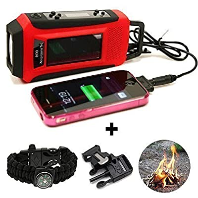Horizons Tec HT-747 Emergency NOAA Weather Radio. Solar & Hand Crank Powered, Mobile Cell Phone Charger & Led Flashlight. Paracord Survival Kit Bracelet Magnesium Flint Fire Starter Compass Whistle by Online Mountain Top