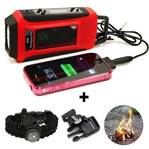 Horizons Tec HT-747 NOAA Weather Emergency Radio. Solar & Hand Crank Powered, Mobile Cell Phone Charger & Led Flashlight. Paracord Survival Kit Bracelet Magnesium Flint Fire Starter Compass Whistle