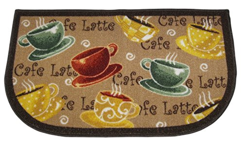 Coffee Cups Cafe Latte Rug Skid Resistant Latex Back 18x30 Inch
