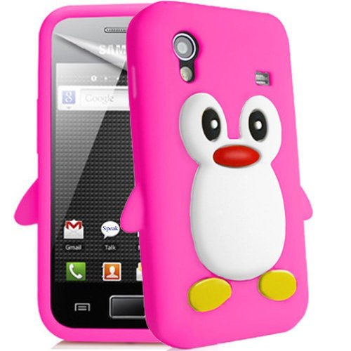 Semoss 3D Pinguino Custodia in Silicone Gel Cover per Samsung Galaxy Ace S5830 S5830i (Rose)