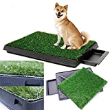 Viment Portable Pet Puppy Dog Potty Trainer Indoor Restroom Pet Loo-Synthetic Grass - 3 Layered System - Pan Tray - Great for Dogs Stuck in the House All Day - Indoor Use.