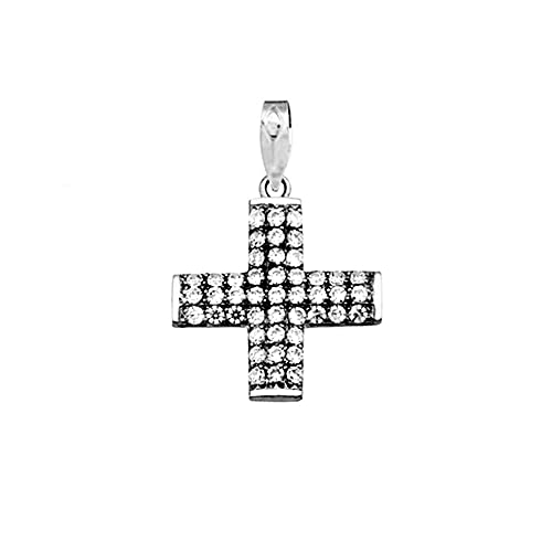 18k white gold cross zircons [AA4922]
