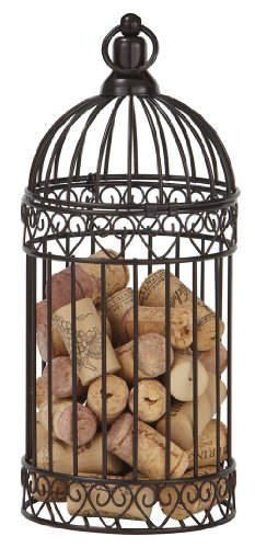 CounterArt Metal Wine Cork Caddy in Bird Cage Design, 10-Inch
